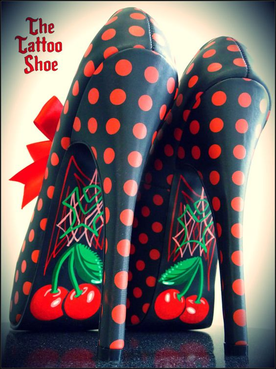 Paint on black stilettos...so cute. Like the cherries but maybe a lotus instead.