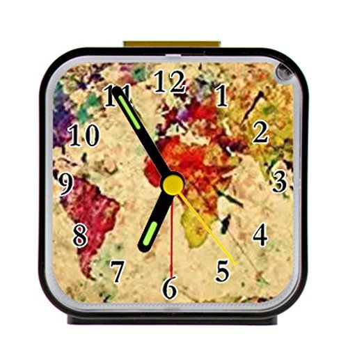 8 best alarm clock design images on pinterest alarm clock alarm retro style world map custom alarm clock quartz 965 hom https gumiabroncs Choice Image