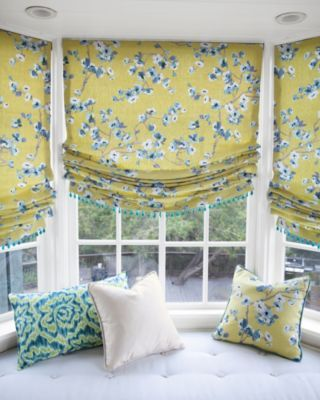 Photo Gallery - Smith+Noble. Relaxed roman shades. Idea for kitchen bay window. Can coordinate look above kitchen sink too.