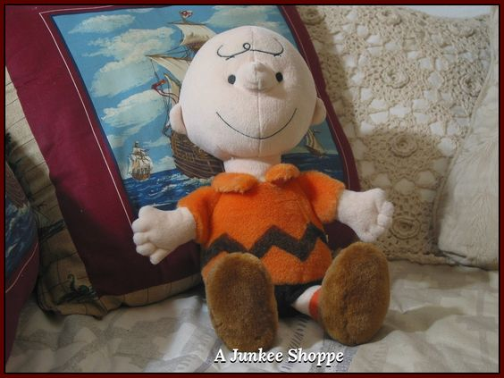 "CHARLIE BROWN 13"" Kohl's Care 2013 Christmas Plush Stuffed Orange Shirt Doll  IMG 2017  http://ajunkeeshoppe.blogspot.com/"