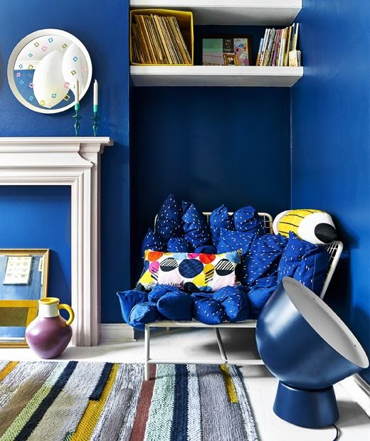 A Bright Blue Living Room With Sofa Oversized Lighting And Rug More At Ikeaideas Bright Blue Couch Blue Couch Living Blue Living Room