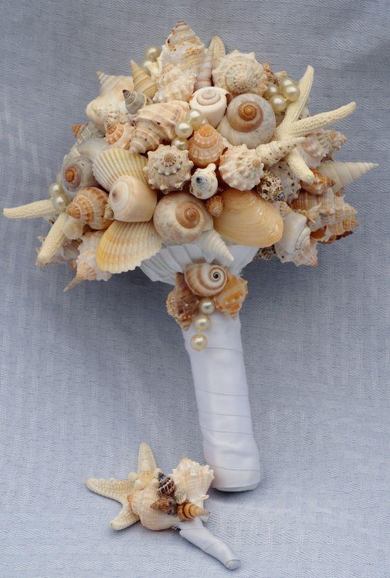 Starfish and Seashell Bouquet/Boutonierre Set. $114.00, via Etsy.