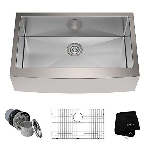 Kraus Khf200 33 33 Inch Farmhouse Apron Single Bowl 16 Gauge Stainless Steel Kitchen Sink Farmhousekitchens Stainless Steel Farmhouse Sink Apron Sink Kitchen Steel Kitchen Sink
