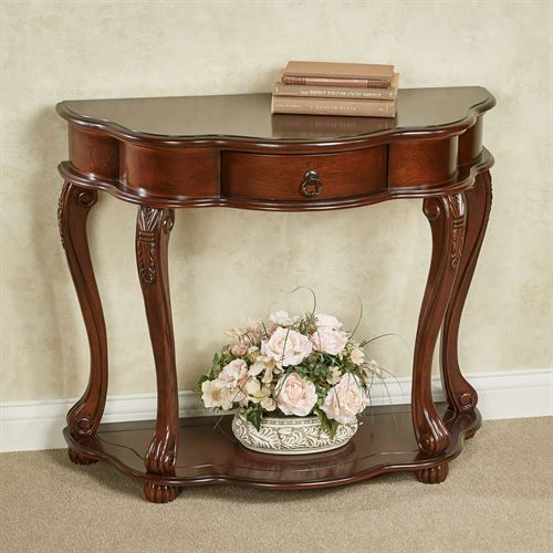 Eudora Natural Cherry Finished Wooden Console Table Victorian Console Tables Console Table Wooden Console Table