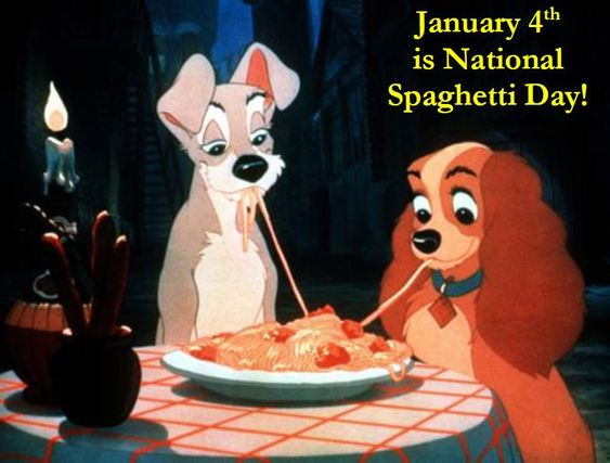"JANUARY 4th  ~~ It's National Spaghetti Day! :: Celebrate with Disney's ""Lady & The Tramp"""