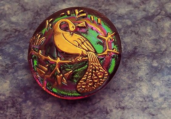 Green Czech Glass Button with Gold Peacock: