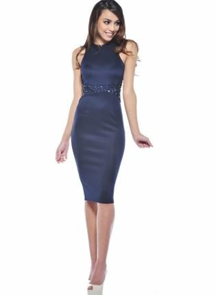 Navy Fitted Midi Dress with Embellished Waist  Pinterest  The ...
