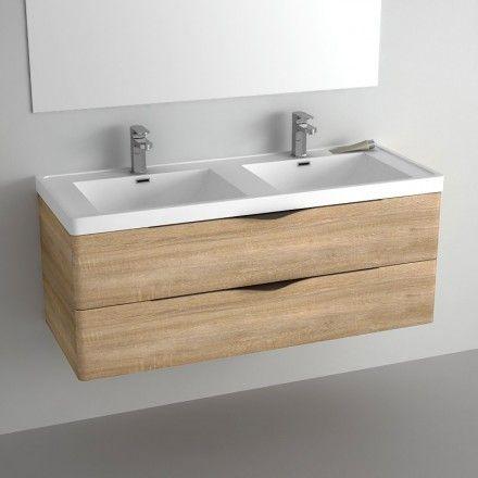 Meuble salle de bain 120 cm ch ne 2 tiroirs plan composite nature sdb pinterest nature Meuble salle de bain 120