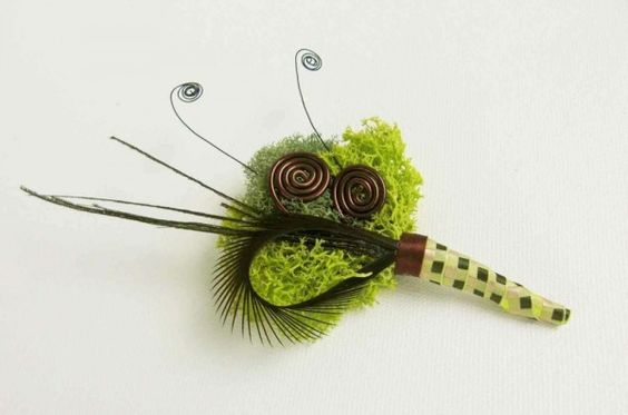 Boutonniere - Moss Wedding Decor