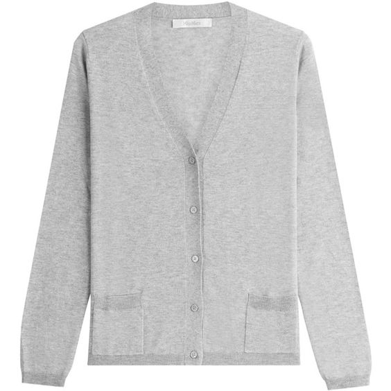 Max Mara Cardigan ($275) ❤ liked on Polyvore featuring tops, cardigans, grey, slim fit cardigan, grey top, grey cardigan, v-neck cardigan and gray cardigan