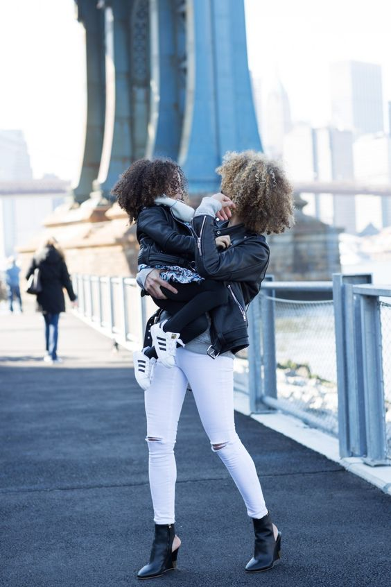 Mommy Daughter black and white style