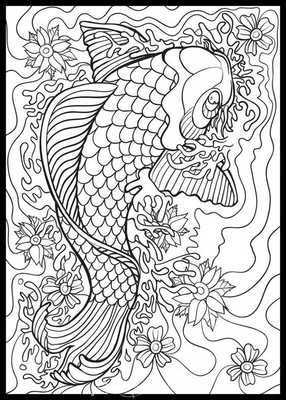Koi Doodle Click To Zoom Abstract Coloring Pages Fish Coloring Page Geometric Coloring Pages