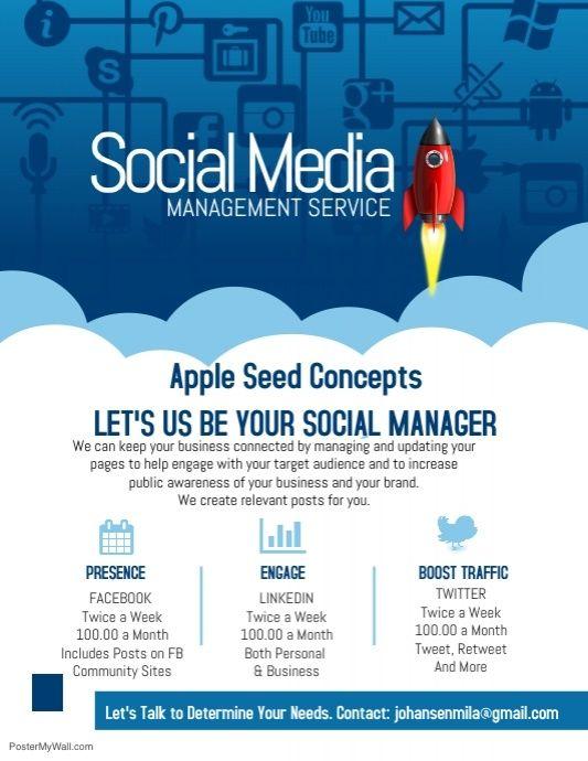 Copy Of Social Media Marketing Management Company Poster Flyer
