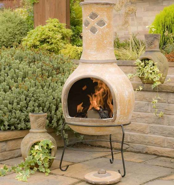 Mexican Chiminea These Cannot Be Lit In Waterloo Region Guess We Will Have To Put A Plant In It Clay Fire Pit Outdoor Fireplace Designs Fire Pit Backyard