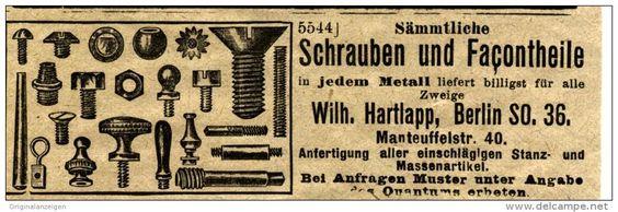 Original-Werbung/ Anzeige 1901 - SÄMMTLICHE SCHRAUBEN - UND FACONTEILE / HARTLAPP BERLIN - ca. 100 x  35 mm