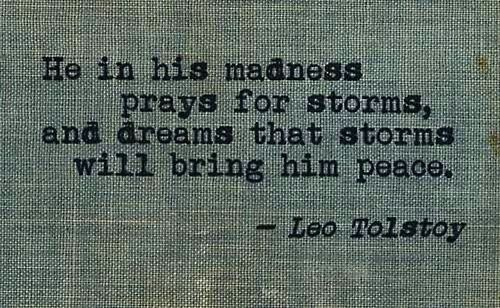 He in his madness prays for storms, and dreams that storms will bring him peace. -- Leo Tolstoy
