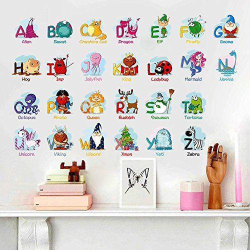 Alphabet Animals Abc Wall Decals Peel And Stick Easily Removable