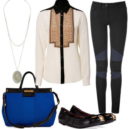 wannaba a troublemaker  #blau #Tasche #Bluse #bikerhose
