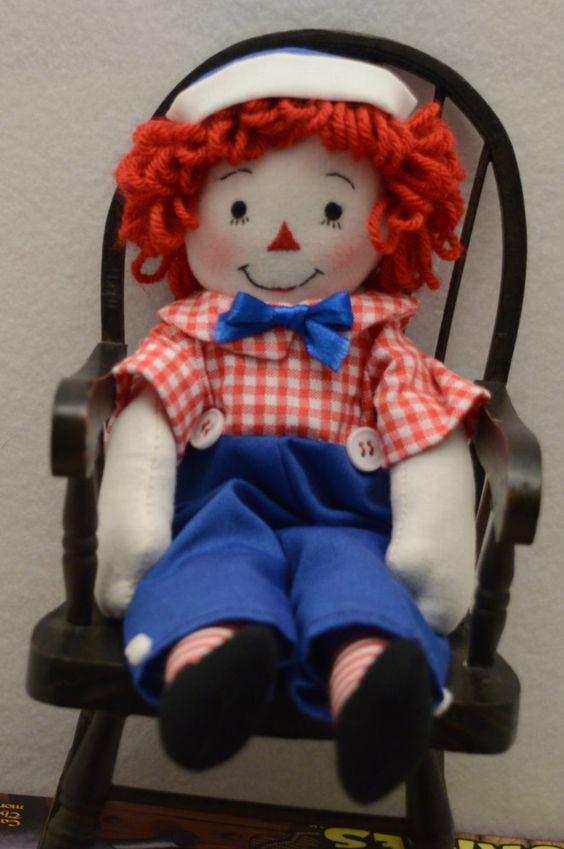 Raggedy Andy doll 9 inch handmade by MandMneedles on Etsy