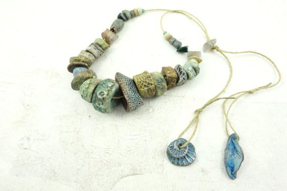 Reserved for Fiona Artisan Ceramic BeadS Large by greybirdstudio, £35.00