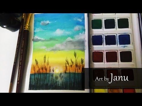 Natural Scenery Lovely Sunset Drawing Poster Colour And