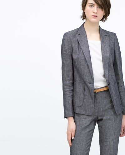 LINEN BLAZER-Blazers-Jacket-WOMAN | ZARA Singapore | women's suits ...