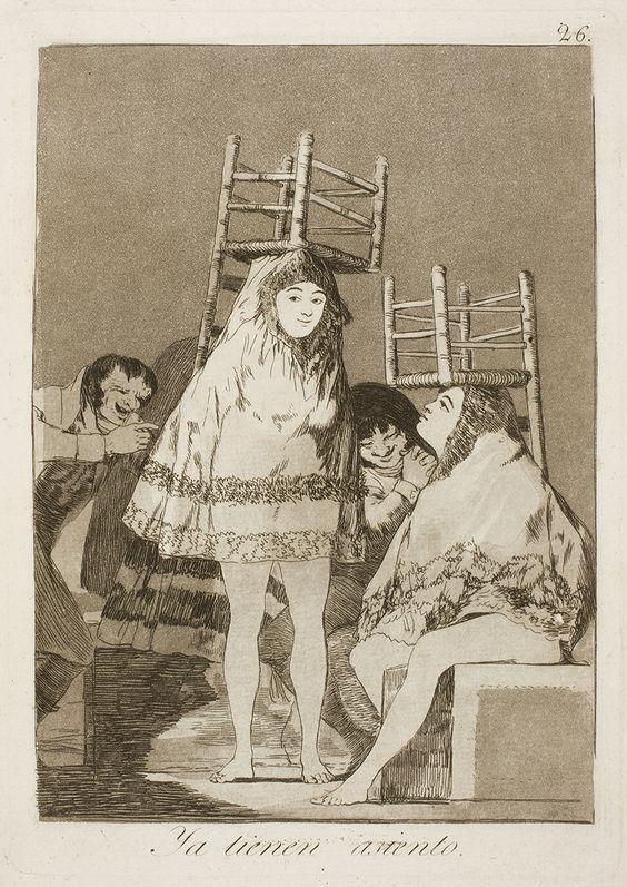 """Francisco de Goya: """"Ya tienen asiento"""". Serie """"Los caprichos"""" [26]. Etching and aquatint on paper, 215 x 151 mm , 1797-99. Museo Nacional del Prado, Madrid, Spain"""