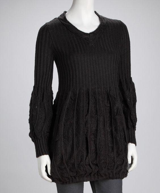 Gray V-Neck Sweater Tunic