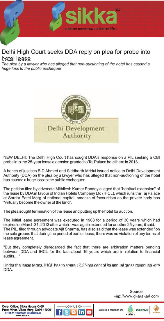 Delhi High Court seeks DDA reply on plea for probe into hotel - lease extension agreement