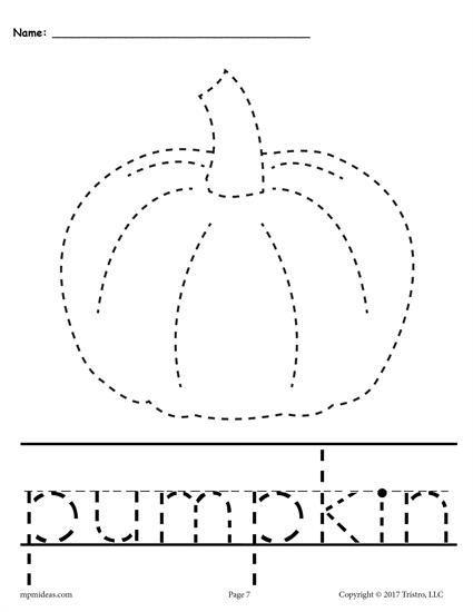 Free Printable Pumpkin Tracing Worksheet Plus 9 More Fall Tracing Worksheets The Halloween Worksheets Preschool Fall Preschool Worksheets Halloween Worksheets