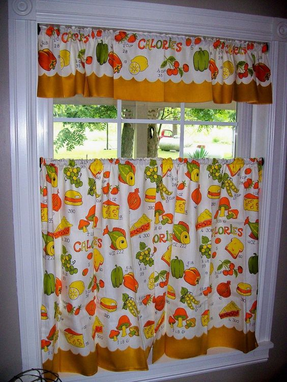 Vintage Curtains Kitchen Retro Fish Mushrooms Food Orange Yellow Green