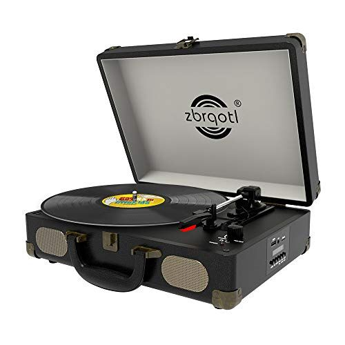 Vinyl Record Player Vintage Suitcase Turntable 3 Speed For 7 10 12 Lp Bluetooth 2 Stereo Speakers 9v 1 5a Dc In Standard Rca Headphone Outputs Black Black In 2020 Vinyl Record Player Record Player Turntable