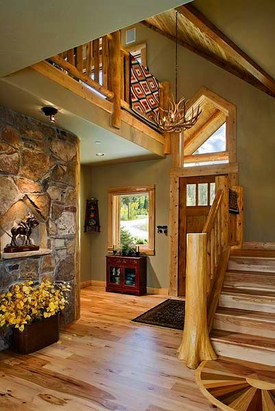 Log Home Foyer : Foyers cathedral ceilings and the on pinterest