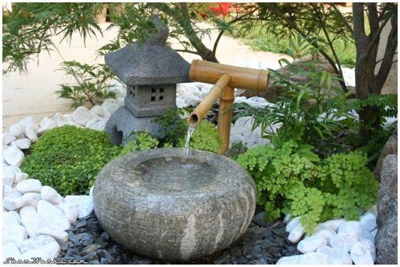 gartengestaltung mit steinen japanischer garten wasser bambus ...