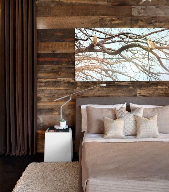 Rustic meets modern bedroom art window treatment for Window side design