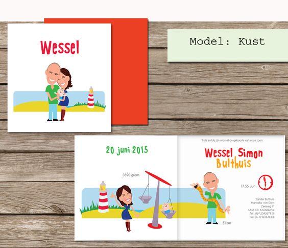 Nieuw #geboortekaartje op www.almalangerak.nl  #zee #strand #cartoon #maatwerk #geboortekaartjes #nagetekend #illustratie #custom #made #birth # announcement