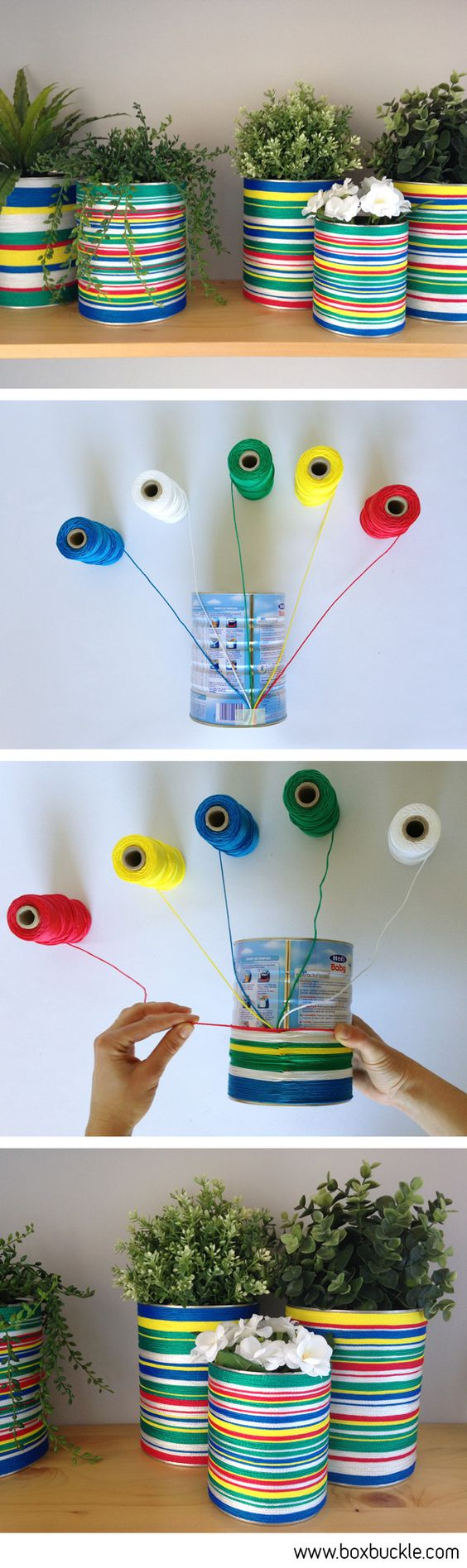 DIY TUTORIAL, bote de leche infantil forrado con cordeles de colores (idea de DAMA design) colored tin can planters with strings: