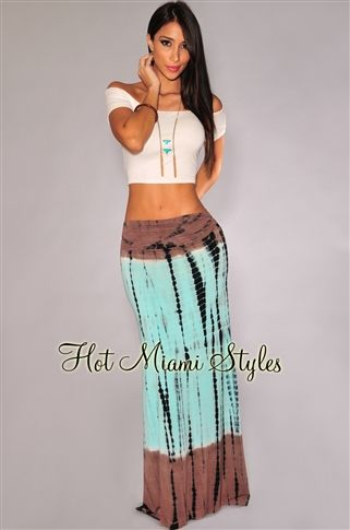 Mint Mocha Tie-Dye Maxi Skirt Womens clothing clothes hot miami ...