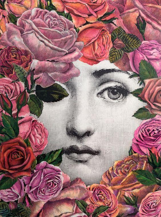 Decoupage original inspiración Fornasetti lienzo cuadrado