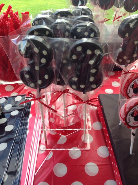 Black chocolate 3 pops with white polka dots for red Minnie Mouse party.