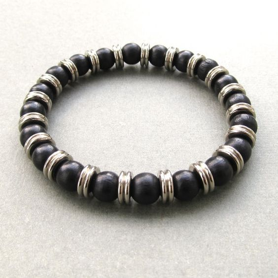 Mens Black Wood And Metal Washer Beaded Stretch Bracelet