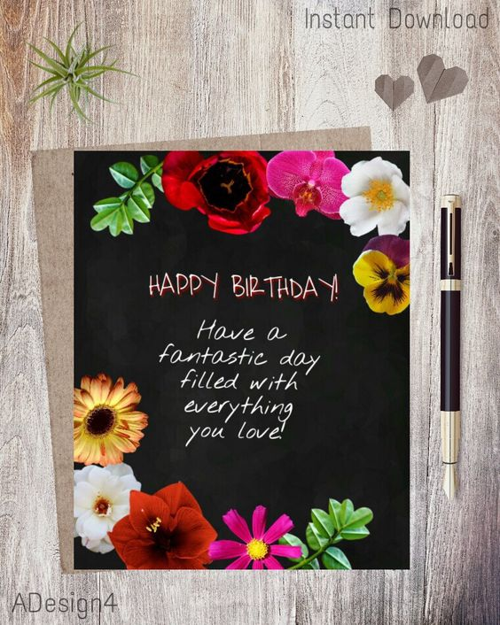 Set Of 4 Printable Floral Greeting Cards ECards DIY Birthday – Birthday Cards E Cards