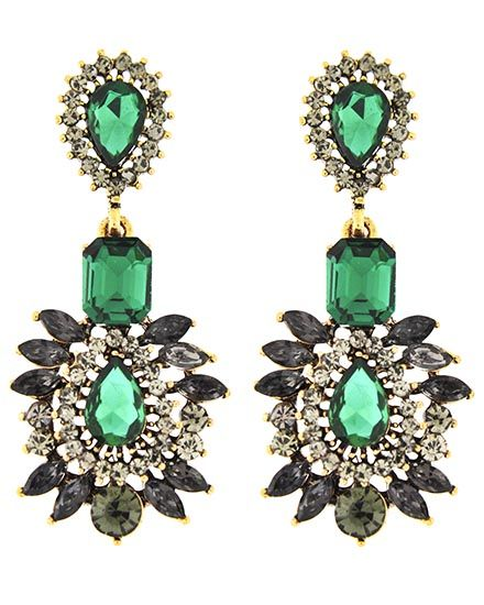 Burnished Gold Tone / Emerald Glass & Blackdiamond Rhinestone / Lead&nickel Compliant / Post / Dangle / Earring Set