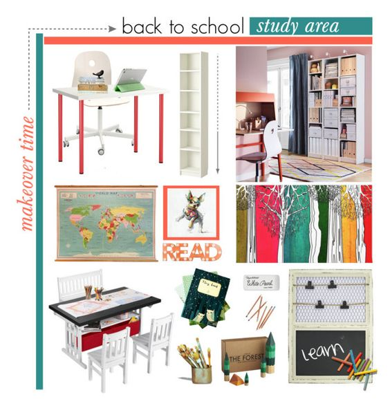"""Back To School Study Area Makeover"" by mk-style ❤ liked on Polyvore featuring interior, interiors, interior design, home, home decor, interior decorating, Dot & Bo, CB2, Speck and Paper Mate"