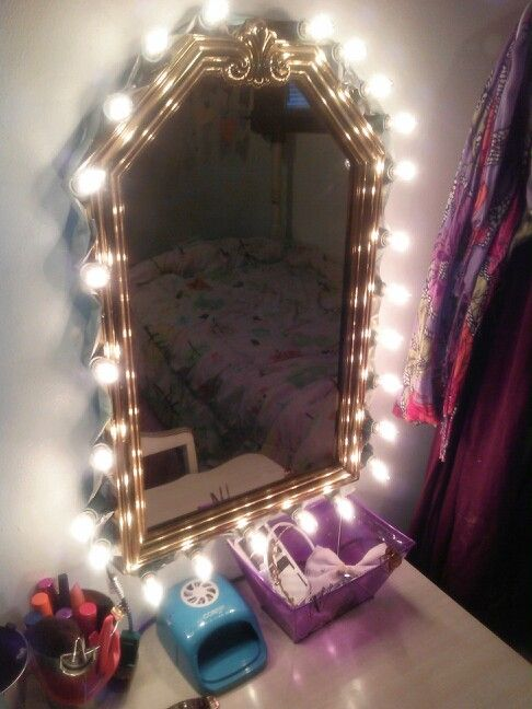 diy vanity mirror i made with a cheap goodwill mirrorduct tape cheap diy lighting