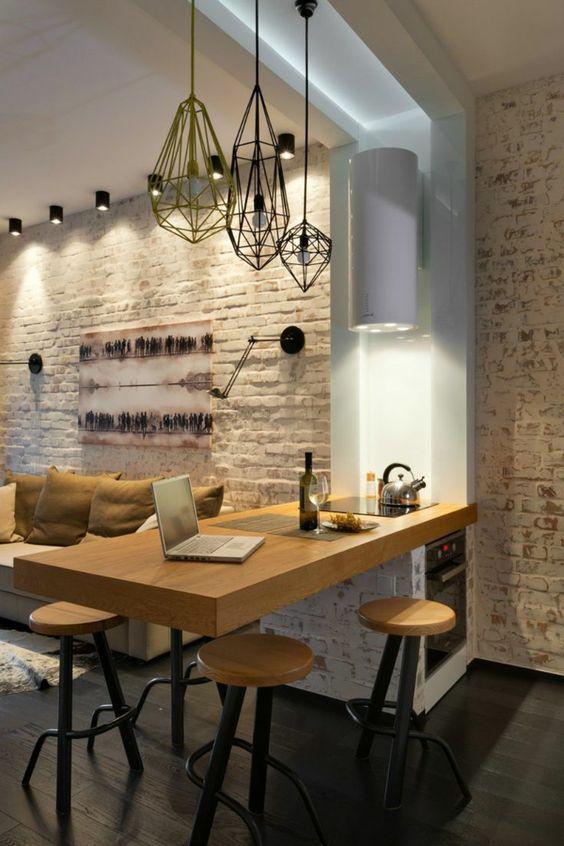 45 id es en photos pour bien choisir un lot de cuisine - Brique pour mur interieur ...