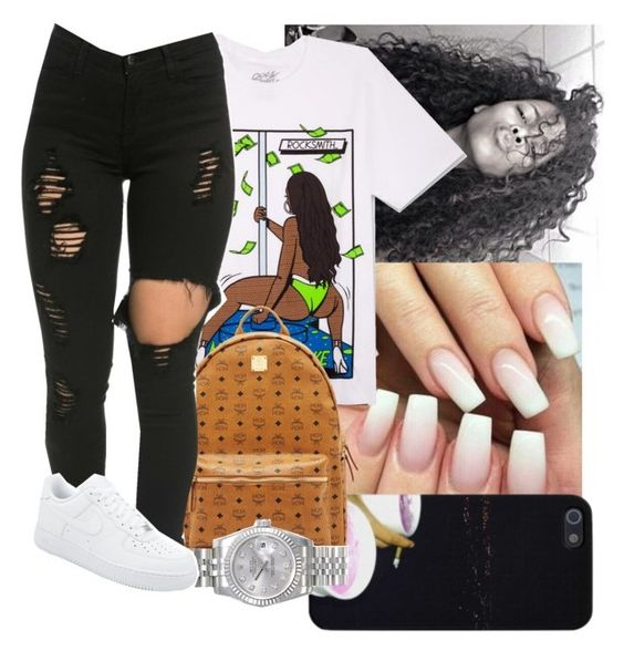 💫🌴 by drezzy on Polyvore featuring polyvore, fashion, style, RockSmith, MCM, Rolex, NIKE and clothing