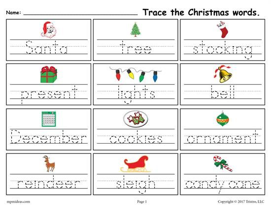 Printable Christmas Words Handwriting Tracing Worksheet Christmas Worksheets Christmas Words Tracing Worksheets Christmas worksheets matching words pictures