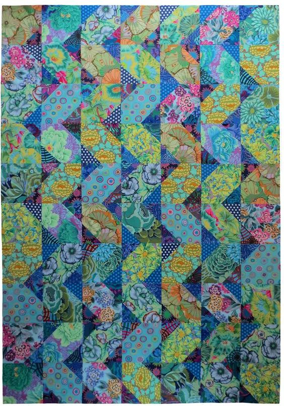 """""""Cascade"""" Pattern by Anne Diester of Spring Leaf Studios. Fabrics by the Kaffe Fassett Collective."""