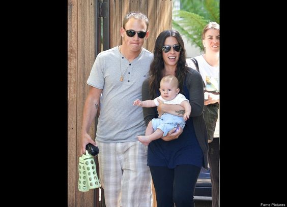 Alanis Morissette leaves her home in Los Angeles with her hubby Mario and their 4-month-old son Ever.